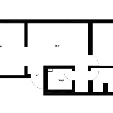68平米二居室户型平面图