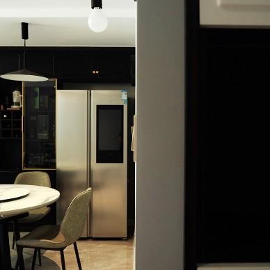 黑色厨房改造是亮点 ,小餐厅变大圆桌_1594102948