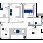 92平米三居室户型图