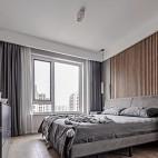 灰色木地板卧室效果图