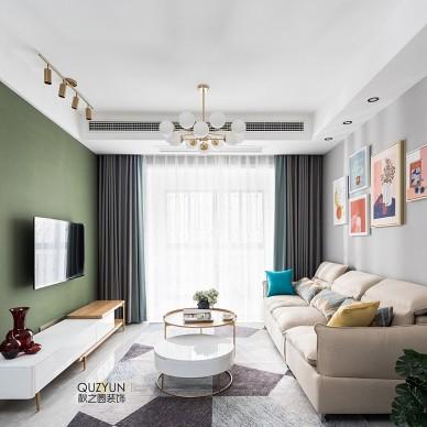 浅绿色电视背景墙