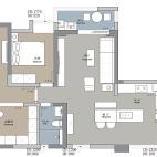 114平米三居室户型图