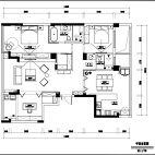 160平米北欧风三居室户型图