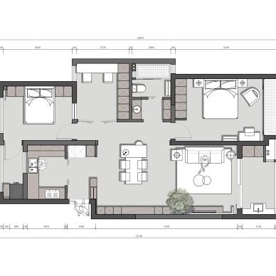 120平米三居户型图片