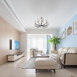 客厅蓝色背景墙效果图