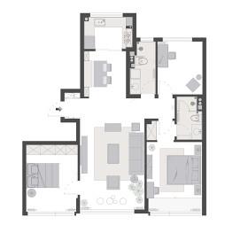 120平米三居室平面图片