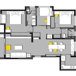 现代简约120平米三居室户型图片