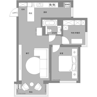 70m²的现代一居室,二人世界的浪漫。