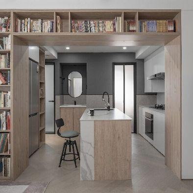 """90㎡公寓,两面书墙造出家庭""""图书馆""""!"""