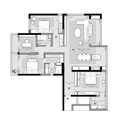 166m²平层,客餐厅打通,空间放大1倍_1615620948_4396141