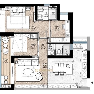黑白灰调性,三室改两室,三分离设计_4534850